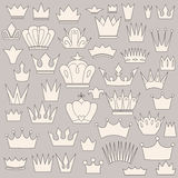 Set of crowns, sketch on a gray background Royalty Free Stock Image