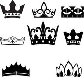 Set of crowns and tiaras Stock Photos