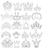 Set of Crowns and Tiaras Line Art Stock Photography
