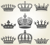 Set crowns in vintage style Stock Image