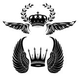 Set of crowns and wings Stock Photography