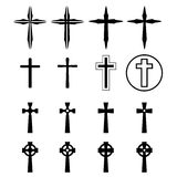 Set of crucifix and cross silhouette in modern Royalty Free Stock Images