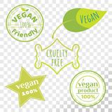 Vegan free labels collection isolated on transparent background. Set of cruelty free emblems that proves animal rights protection Stock Images