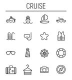 Set of cruise icons in modern thin line style. High quality black outline travel symbols for web site design and mobile apps. Simple cruise pictograms on a Stock Photos
