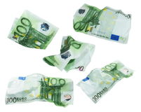 Set crumpled banknote 100 hundred euros isolation on  white background, with clipping path Stock Images