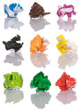 Set Of Crumpled Color Paper Stock Images