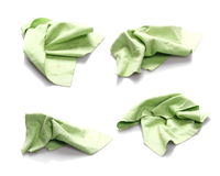 Set crumpled green microfiber cloth isolated on white Royalty Free Stock Photo