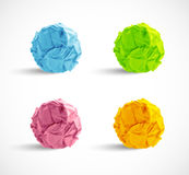 Set of crumpled paper balls Royalty Free Stock Photos