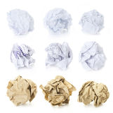 Set of  Crumpled Paper Balls - Squered, Office and Brown Craft Royalty Free Stock Photos