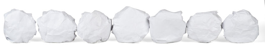 Set of crumpled paper balls Stock Images