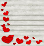 Set crumpled paper hearts on wooden background Stock Photos