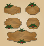 Set crumpled paper label with holly berry Royalty Free Stock Photos
