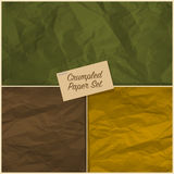 Set of crumpled paper texture Stock Photo