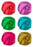 Set of crumpled silk fabric Royalty Free Stock Photos