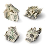 Set of crushed dollar bills Royalty Free Stock Photos