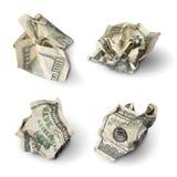 Set of crushed dollar bills Royalty Free Stock Photos