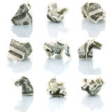 Set of crushed dollars Stock Photo