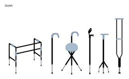 Set of Crutches and Walkers on White Background Stock Images