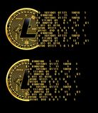 Set of crypto currency litecoin golden symbols Stock Photos