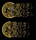 Set of crypto currency monero golden symbols royalty free illustration
