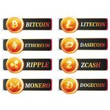 Set of cryptocurrencies label or stickers. On white background Stock Photography