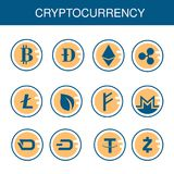 Set of Cryptocurrency Blockchain Flat Style Vector. 12 set of cyptocurrency blockchain in flat style vector icons Stock Photos