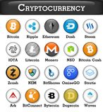 Set of cryptocurrency icon . Vector.  Stock Images