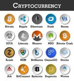 Set of cryptocurrency icon . Vector.  Stock Photos