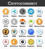 Set of cryptocurrency icon . Vector.  Royalty Free Stock Photography