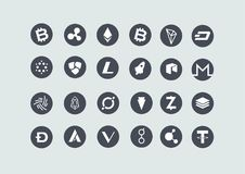 Bitcoin Cryptocurrency Icon Collection Set vector illustration