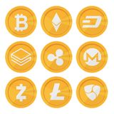 Set of cryptocurrency icons for internet money. Blockchain based secure. Isolated vector sign. Main cryptocurrency coins Stock Photography