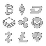 Set of cryptocurrency icons. Line design in grey color. Vector. Cryptocurrency on white background, digital currency, futuristic digital money Royalty Free Stock Photo