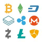 Set of cryptocurrency icons. Simple design in different color. Vector. Cryptocurrency on white background, digital currency, futuristic digital money Stock Photo