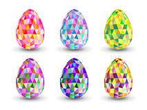 Set of crystal colorful  Easter eggs. Royalty Free Stock Photo