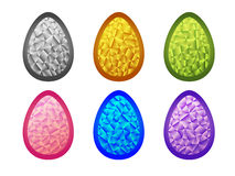 Set of crystal colorful  Easter eggs. Stock Photos