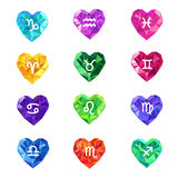 Set of crystal jewel heart shaped astrological zodiac signs symbols. Royalty Free Stock Image