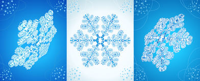 Set of crystal snowflakes. Royalty Free Stock Image