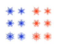 Set of crystal snowflakes Royalty Free Stock Photography