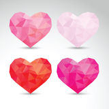 Set of crystallized hearts Stock Photos