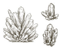 Set of crystals drawings. Vector illustration. Royalty Free Stock Photo