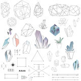 a set of crystals and polygons Royalty Free Stock Photos