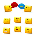Cube emoticons. Set of cube emoticons showing different face expressions Stock Photo