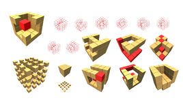 Set of cube pieces for logo Royalty Free Stock Photo