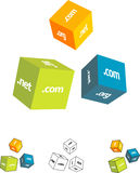Set of cubes. Illustration set of cubes with .com, .net and .org and other computer or internet related wording and icons vector illustration