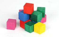 Set of cubes. Isolated set of coloured cubes royalty free stock photography