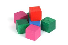 Set of cubes. Isolated set of coloured cubes stock photo