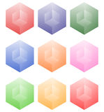 Set of cubes with holes in 9 bright color. Royalty free vector illustration Stock Image