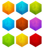 Set of cubes with holes in 9 bright color. Royalty free vector illustration Stock Photos