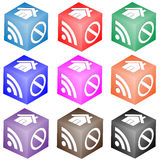 Set of cubes with icons. Abstract composition which shows a cube with different colored icons on the faces on a white background Stock Photo