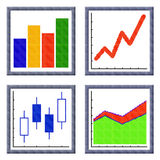 Set of cubes pixel images of growing financial charts icon Royalty Free Stock Photography